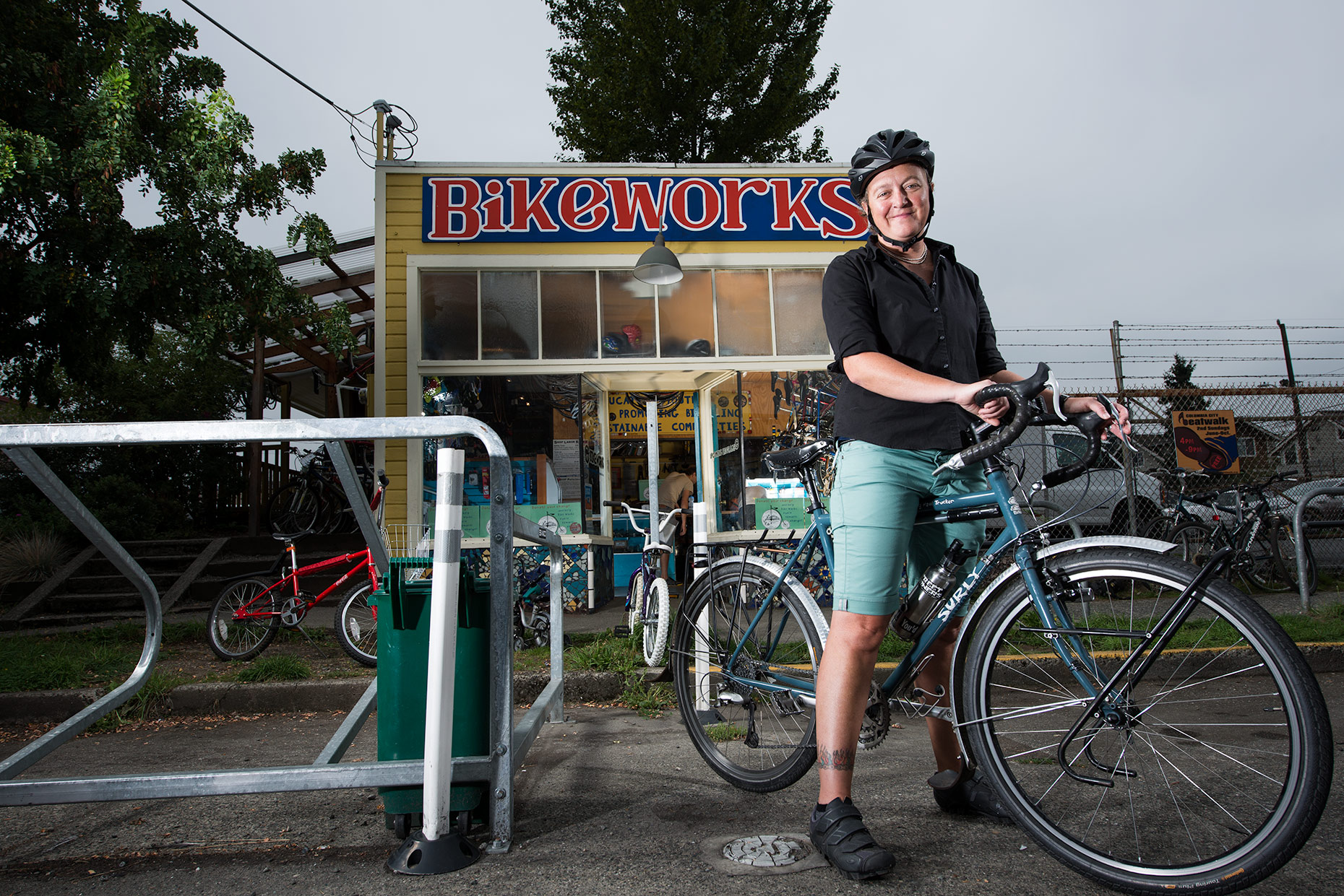 Editorial portrait of  BikeWorks program director by Jim Meyers  / Vertizon Photography